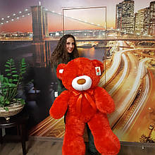 Плюшевый мягкий мишка 150 см  красный