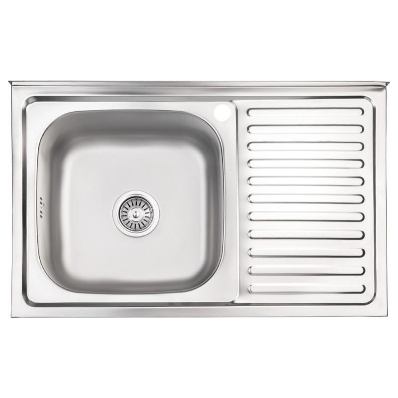 Кухонная мойка Lidz 5080-L Satin 0,8 мм (LIDZ5080LSAT8)