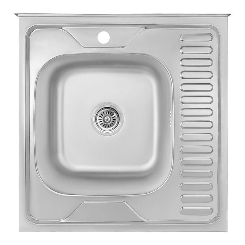 Кухонная мойка Lidz 6060-L Satin 0,8 мм (LIDZ6060LRSAT8)