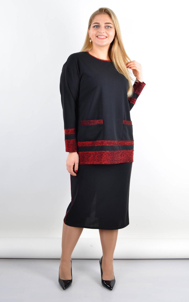 Венето. Жіночий стильний костюм з люрексом плюс сайз, три забарвлення