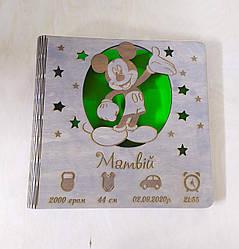 Деревянный детский фотоальбом для мальчика с метрикой Матвей, Микки маус (имя может быть любое)