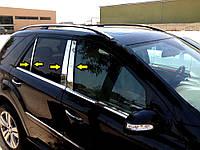 Молдинг дверных стоек (6 шт, нерж) Mercedes ML W164 / Накладки на двери Мерседес Бенц МЛ