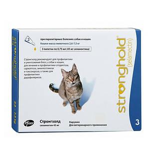 Стронгхолд 45 мг 0,75 мл (вес 2,5 - 7,5 кг) 3 пипет. препарат Антипаразитарный для кошек (США Zoetis 10008307), фото 2