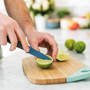 Нож для чистки овощей LEO, с покрытием, голубой, 8,5 см, фото 2