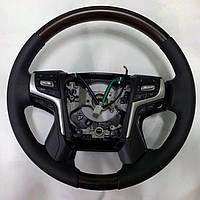 Руль в сборе (темное дерево) Toyota LC 200 / Рули Тойота Ленд Крузер 200