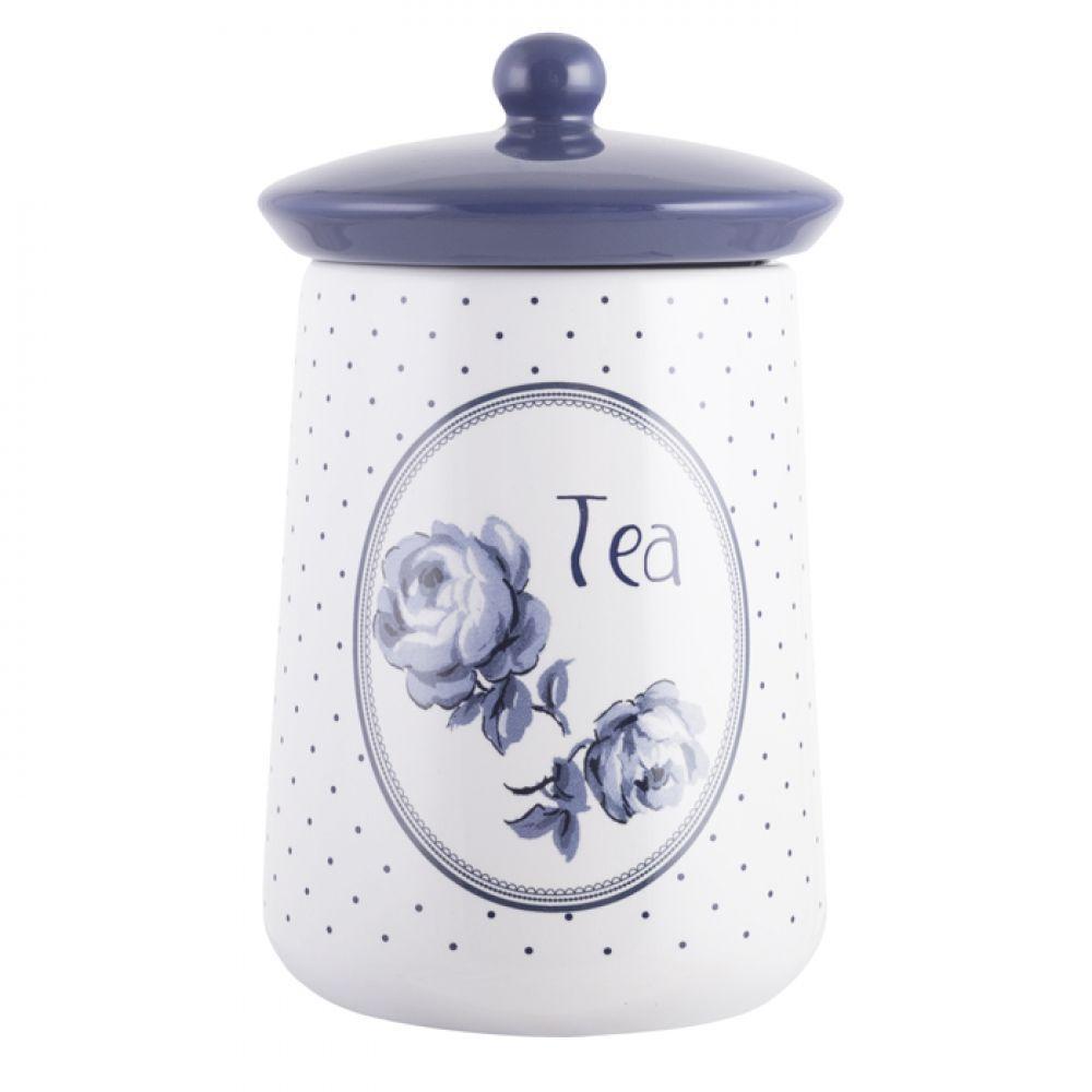 Емкость для чая Vintage Indigo, с крышкой, керамика, 16 х 9 см