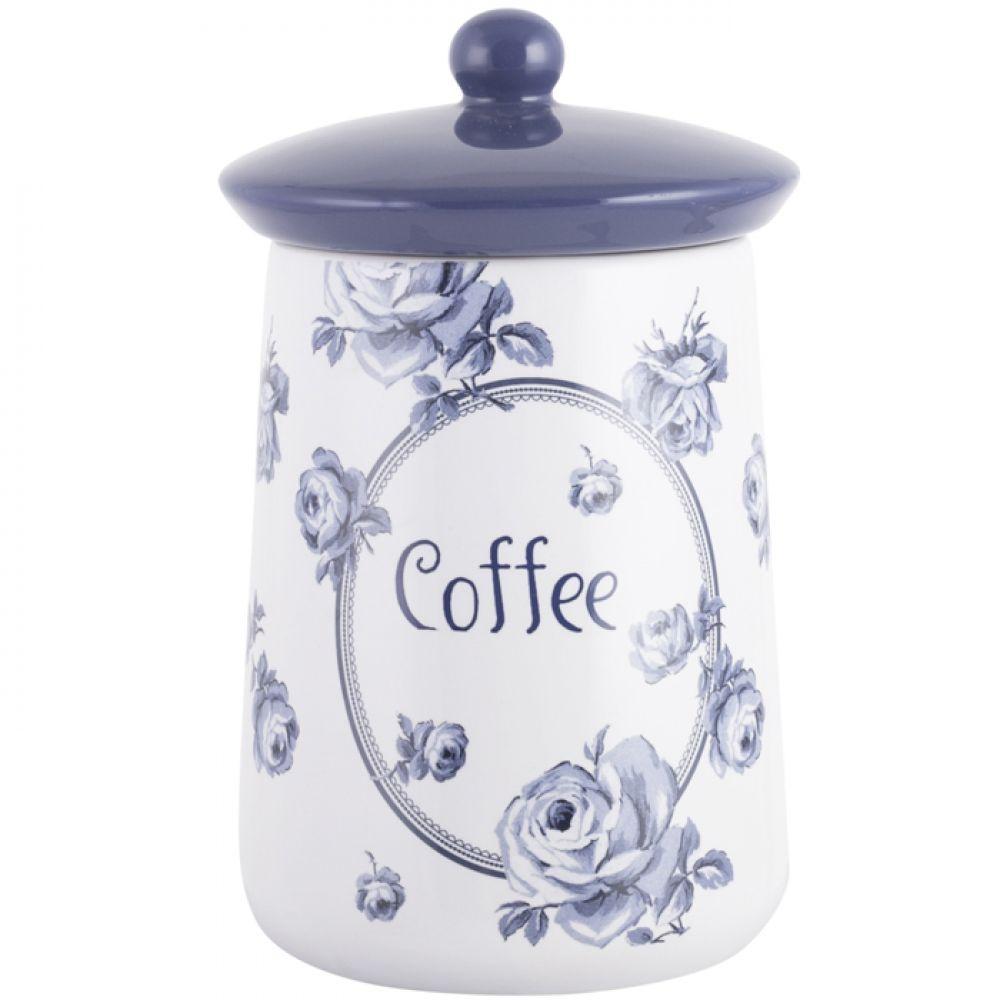 Емкость для кофе Vintage Indigo, с крышкой, керамика, 16 х 9 см
