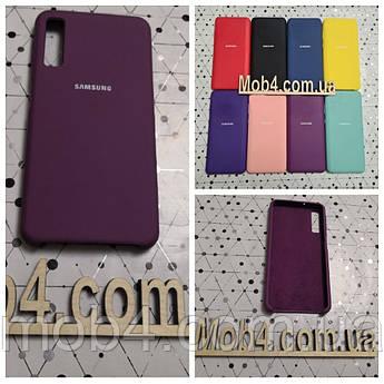 Брендовый чехол накладка Silicone Cover для Samsung Galaxy (Самсунг) A7 2018 (A750)