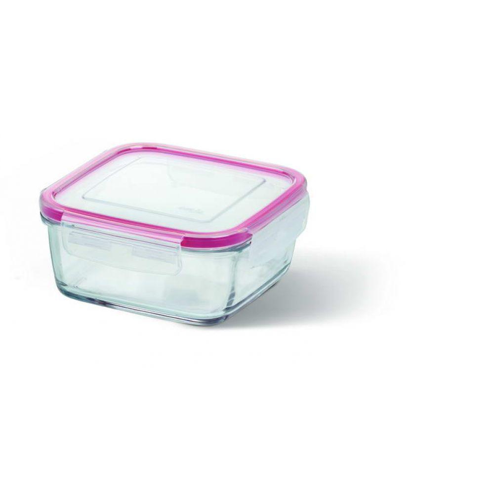 Контейнер стеклянный Emsa Clip&Close Glas 0.78 л для приготовления и хранения Квадратный Розовый (EM508102)
