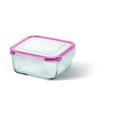 Контейнер стеклянный Emsa Clip&Close Glas 0.78 л для приготовления и хранения Квадратный Розовый (EM508102), фото 2