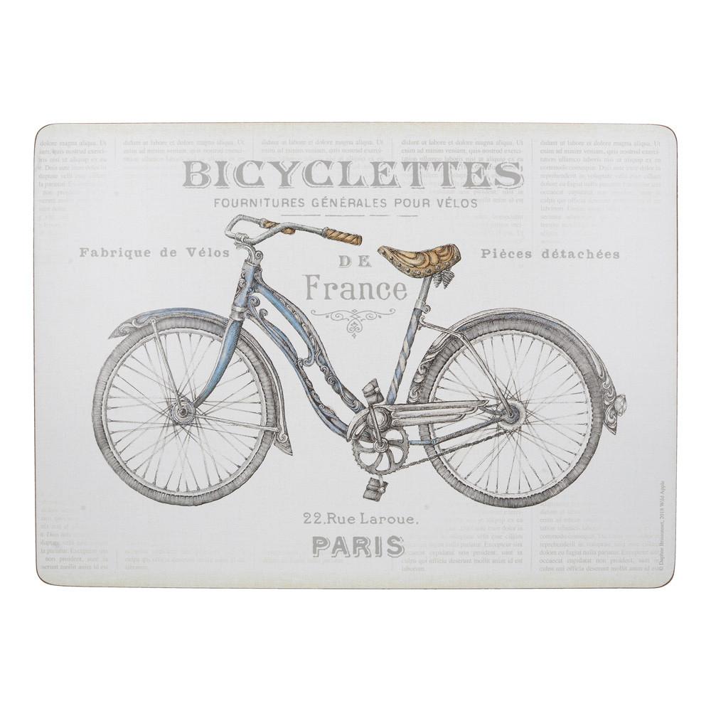Набор пробковых подставок под тарелки Bicycles, 40 х 29 см, 4 пр.