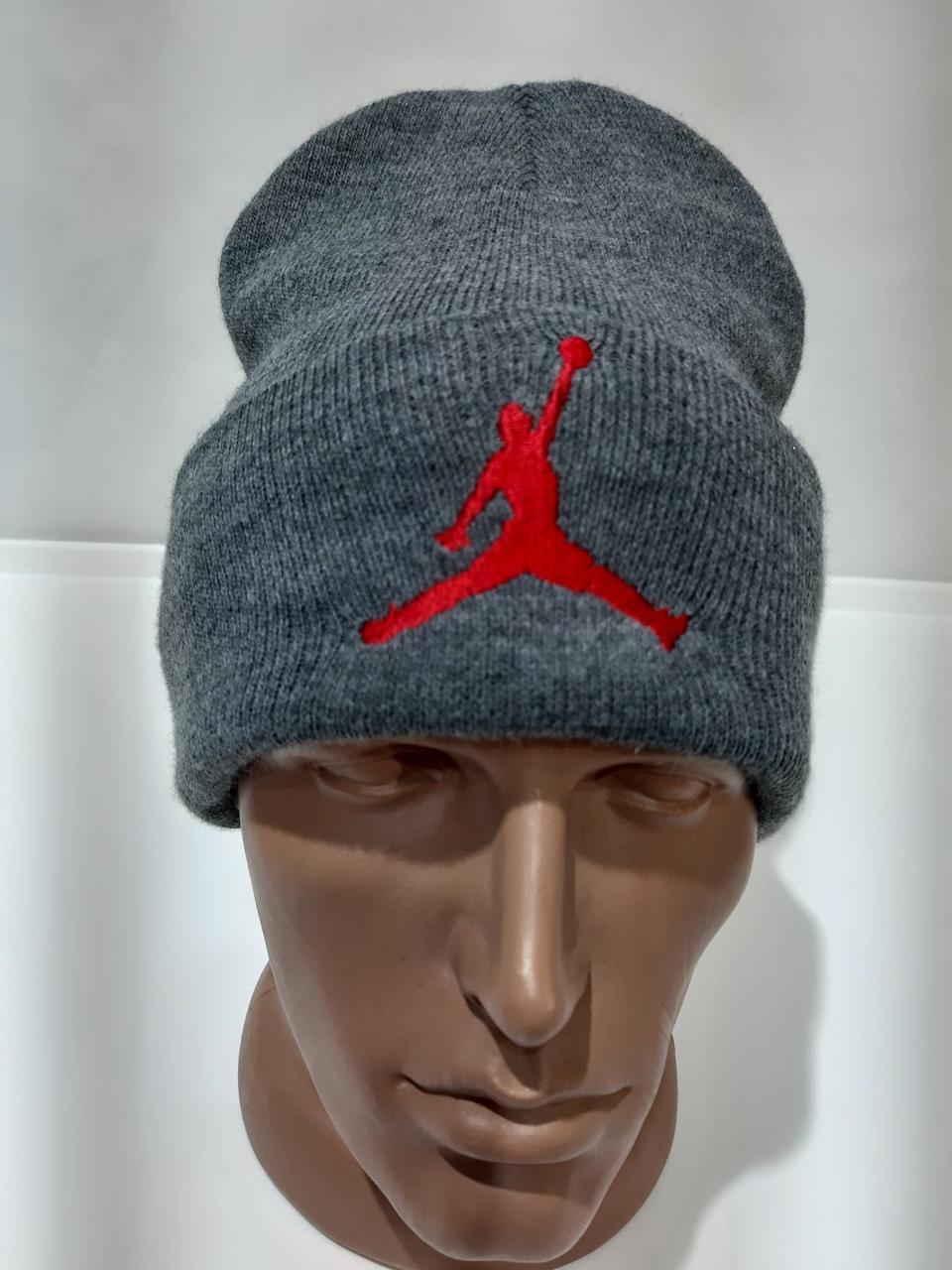 Зимняя шерстяная мужская шапка с отворотом Турция Серая