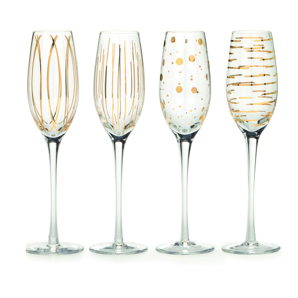 Набор бокалов для шампанского CHEERS GOLD, стекло, 210 мл, 4 пр.