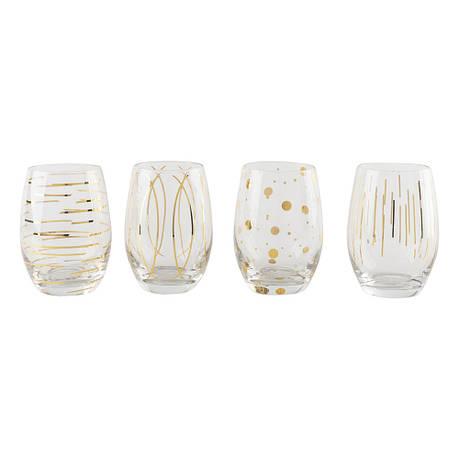 Набор бокалов для вина CHEERS GOLD, без ножек, стекло, 590 мл, 4 пр., фото 2