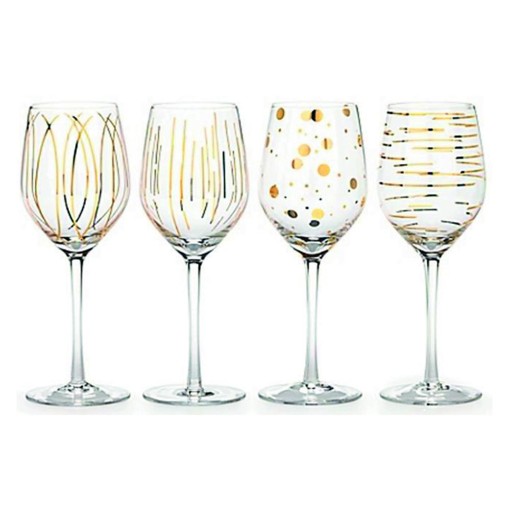 Набор бокалов для белого вина CHEERS GOLD, стекло, 400 мл, 4 пр.
