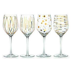 Набор бокалов для белого вина CHEERS GOLD, стекло, 400 мл, 4 пр., фото 2