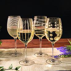 Набор бокалов для белого вина CHEERS GOLD, стекло, 400 мл, 4 пр., фото 3