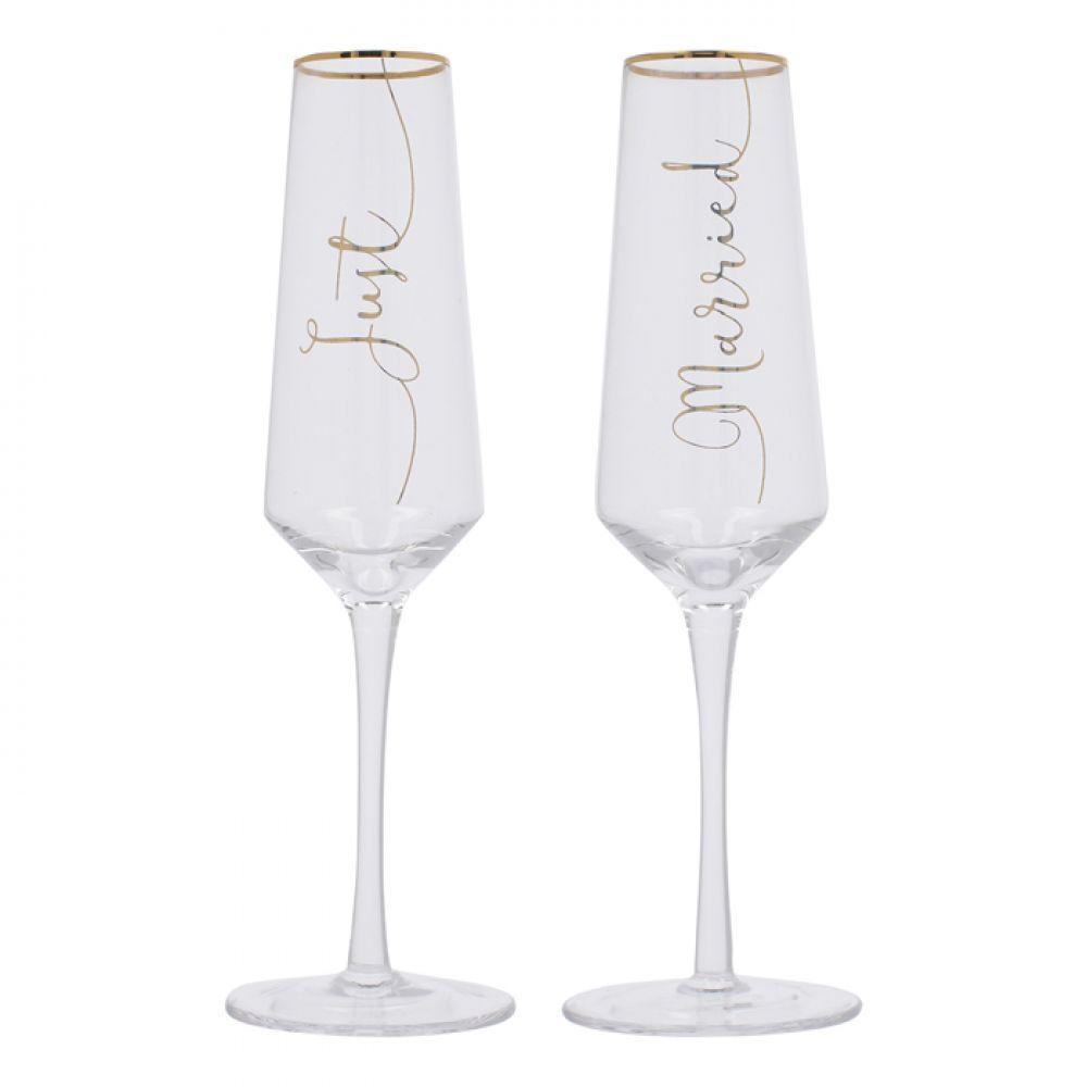 Набор бокалов для шампанского Just Married Wedding Belles, 250 мл, 2 шт.