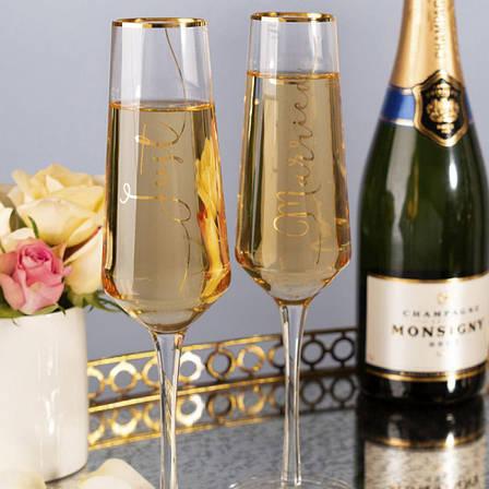 Набор бокалов для шампанского Just Married Wedding Belles, 250 мл, 2 шт., фото 2