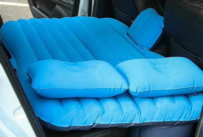 Надувной матрас в машину с насосом EasyWay (Синий) - универсальный автомобильный надувной матрас