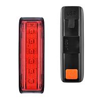 Велосипедный фонарь задний габаритный AQY-0115 6 LED, micro USB, встроенный аккумулятор, фото 1