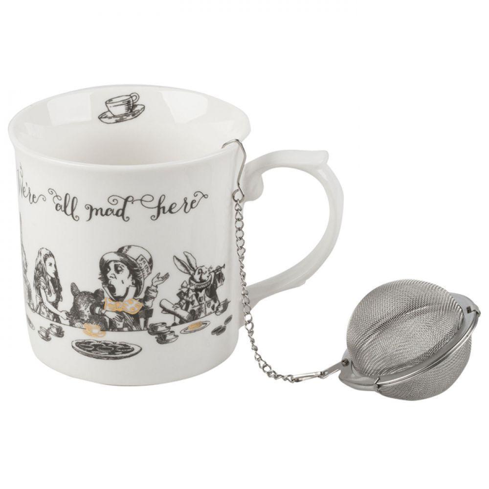 Кружка для чая с ситечком Alice in Wonderland, фарфор, 400 мл