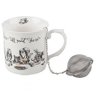 Кружка для чая с ситечком Alice in Wonderland, фарфор, 400 мл, фото 2