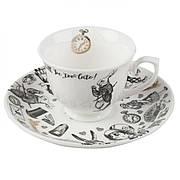 Чашка для эспрессо с блюдцем Alice in Wonderland, фарфор, 75 мл