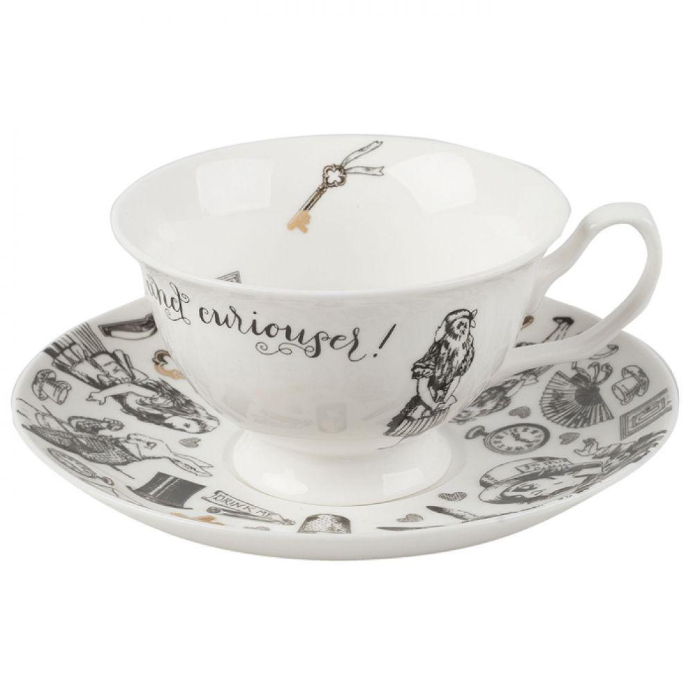Чашка для чая с блюдцем Alice in Wonderland, фарфор, 250 мл
