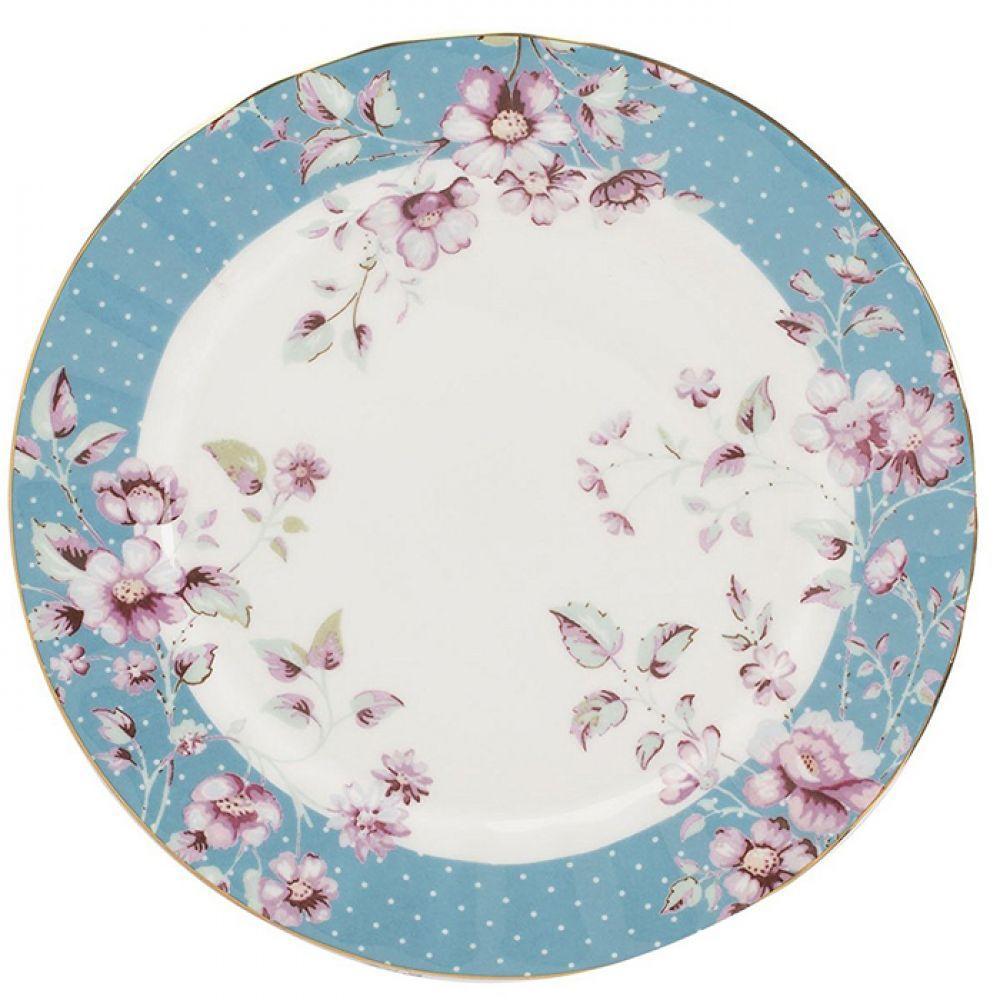Тарелка десертная Ditsy Floral голубая, фарфор, диам. 19 см
