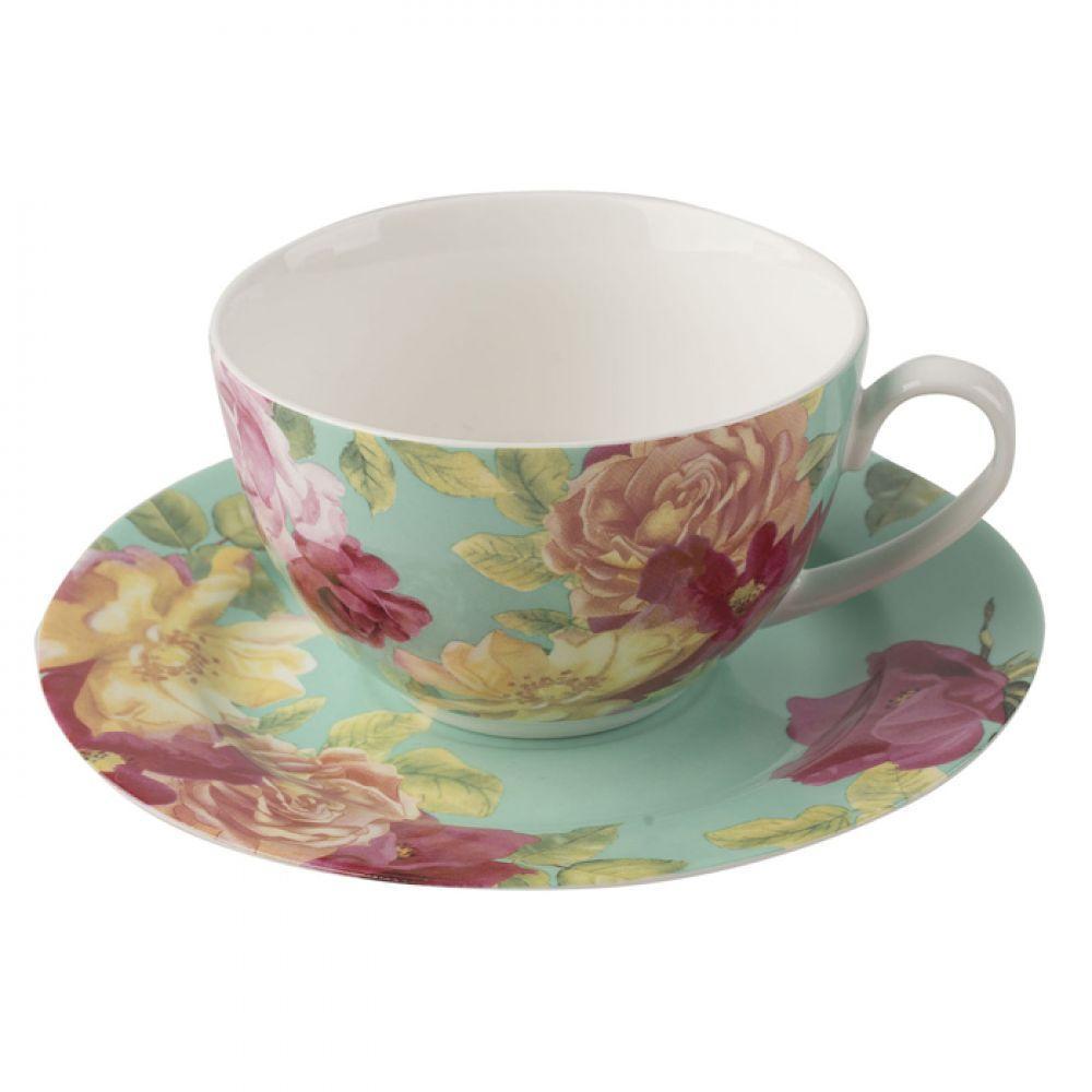 Чашка с блюдцем SOUTHBOURNE ROSE, фарфор, зеленая, 250 мл