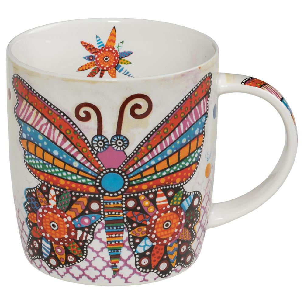 Кружка для чая Flatter SMILE фарфоровая, 12 х 8,5 х 9,5 см, 400 мл
