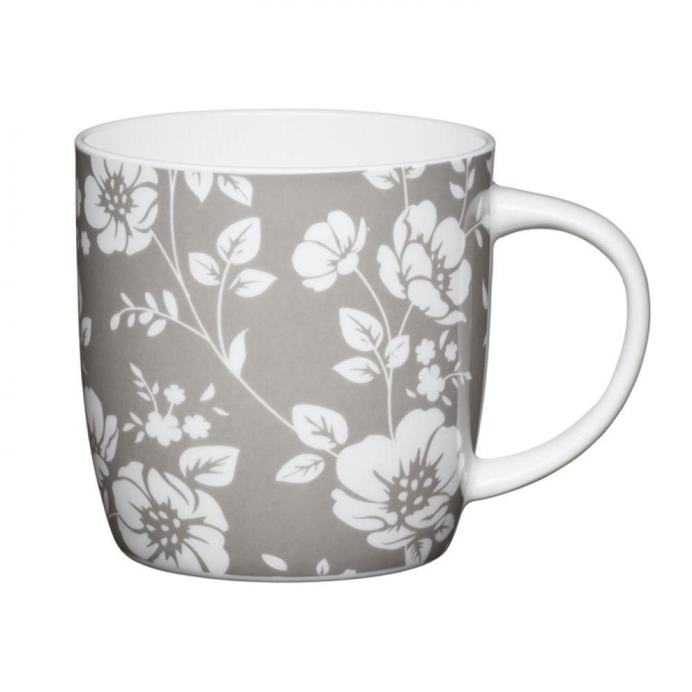 Кружка для чая Grey Floral Kitchen Craft, фарфор, 425 мл