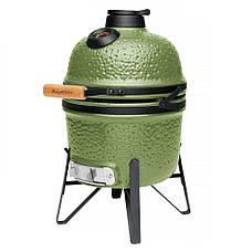 Маленький керамічний гриль-піч, зелений, фото 3