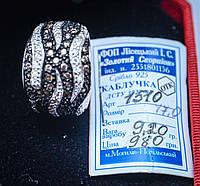 Ультра стильное нарядное серебряное кольцо с белым и черным цирконом родированное. 17 размер