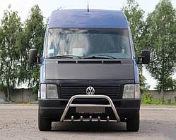 Volkswagen LT 35 Передний кенгурятник WT004 60мм с надписью / Передние защиты Фольксваген ЛТ