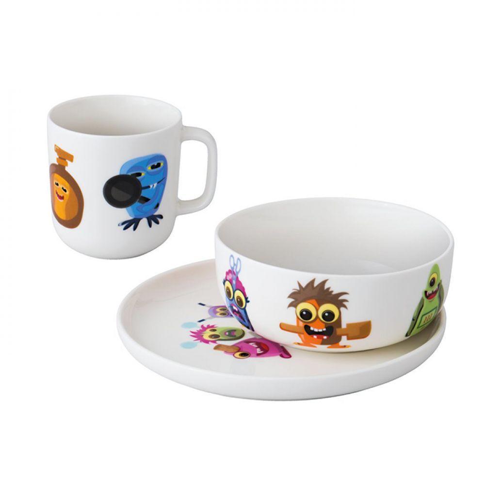 Набор посуды для детей Monsters фарфоровый белый 3 пр BergHOFF 1694050