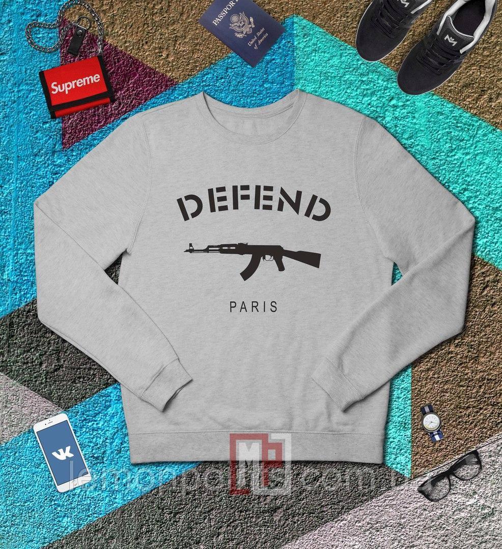 Свитшот, кофта, реглан Defend (серый), Реплика