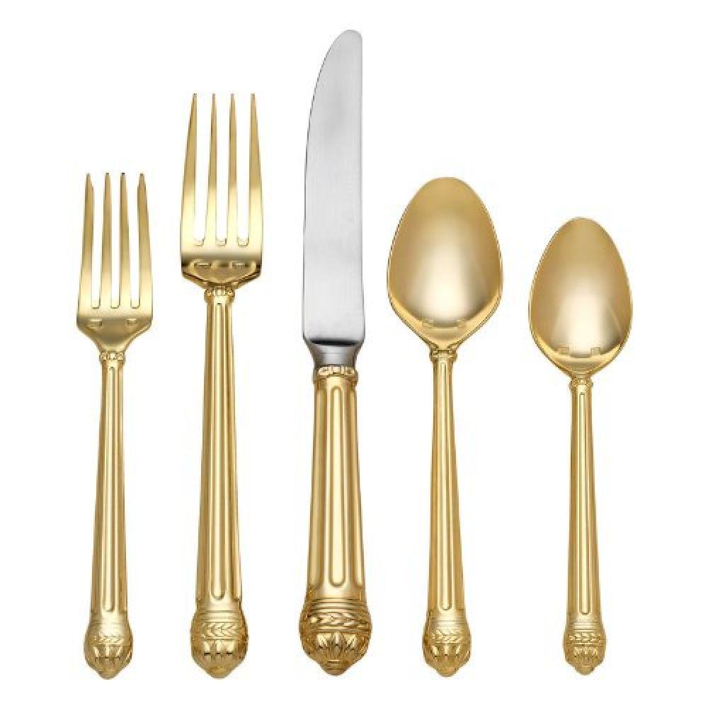 Набор столовых приборов PORTICO GOLD, позолоченные, 5 шт.