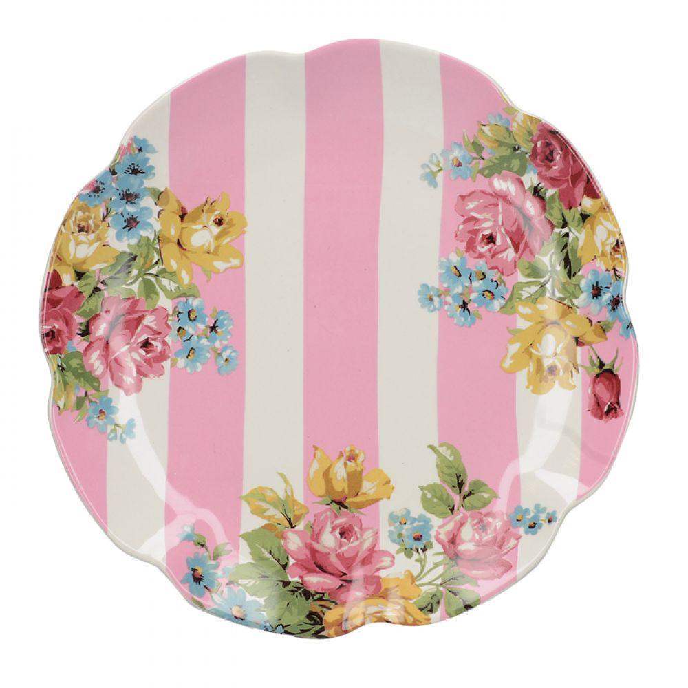 Тарелка десертная BLOOMING FANCY Stripe, керамика, диам. 20,5 см