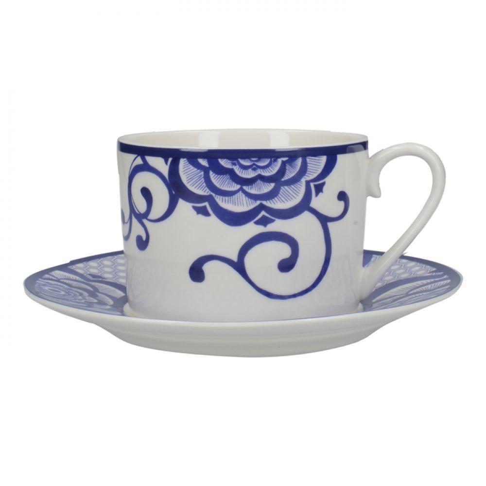 Чашка для чая с блюдцем Bold Floral Cole Collection, фарфор, 290 мл