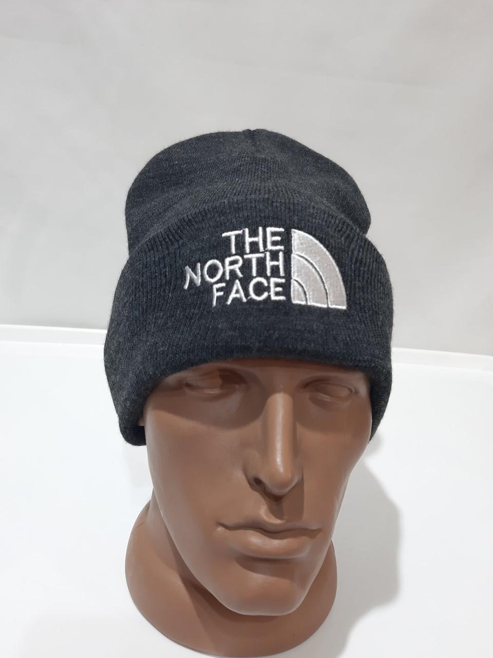 Стильная зимняя мужская шапка шерстяная с отворотом Турция Темно-серый