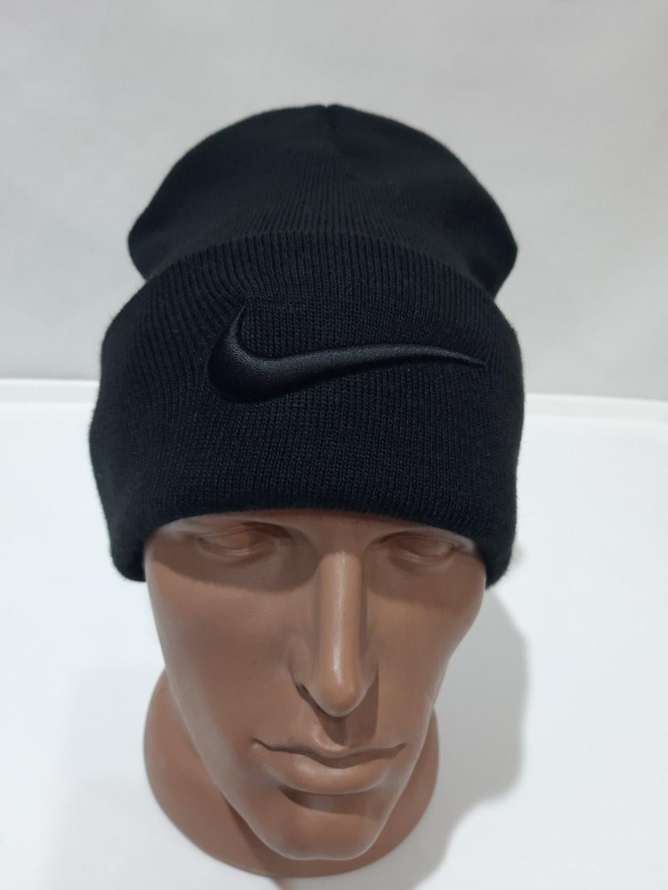 Зимняя мужская шапка черная шерстяная с отворотом Турция