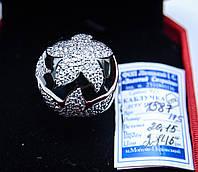 Очаровательный массивный серебряный перстень с белым цирконом родированное.  17.5  размер