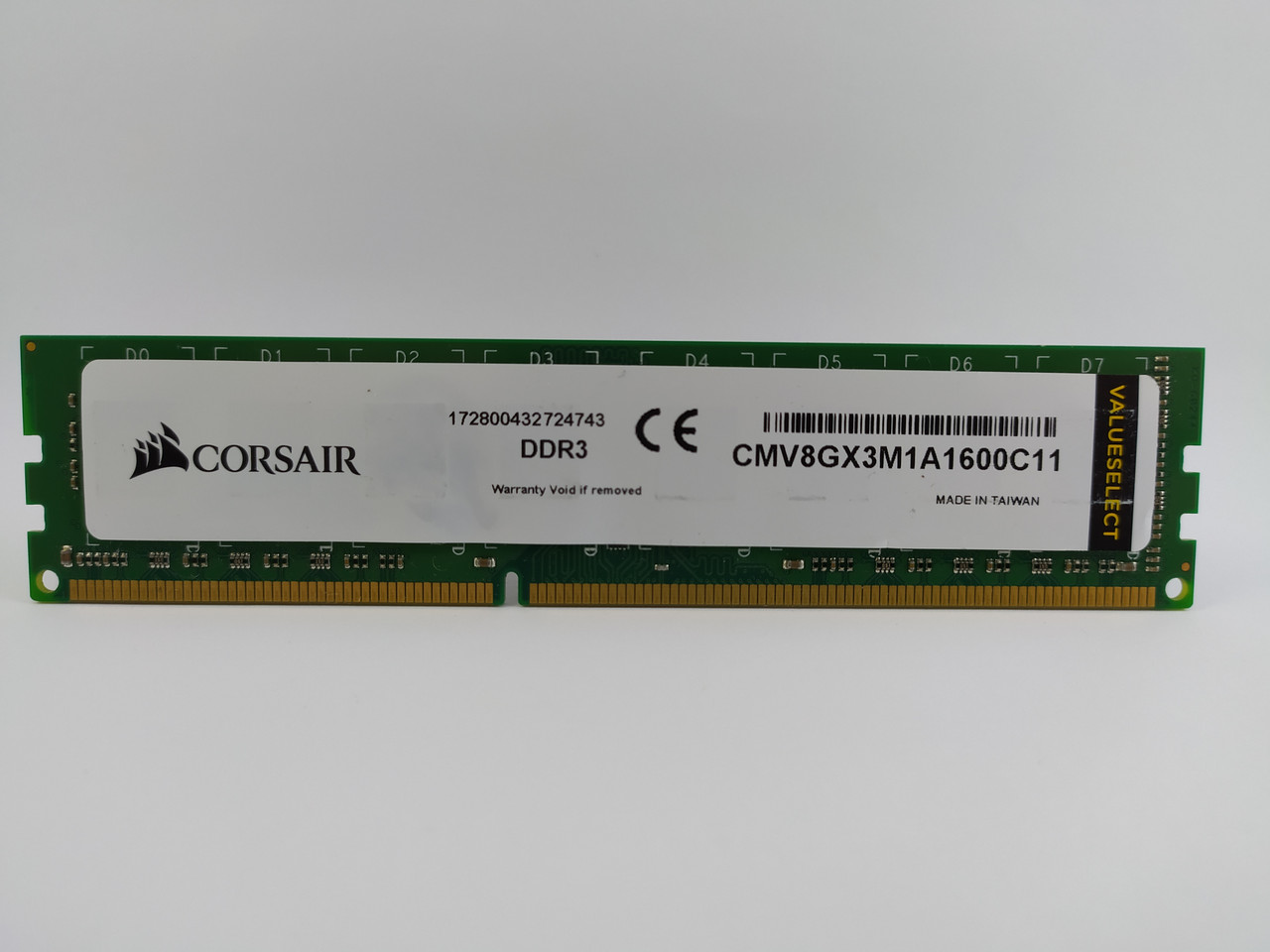 Оперативная память Corsair ValueSelect DDR3 8Gb 1600MHz PC3-12800U (CMV8GX3M1A1600C11) Б/У