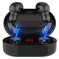 Беспроводные TWS наушники Topk L22 Bluetooth 5.0 с LED экраном Черные гарнитура bluetooth блутуз беспроводные