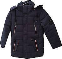 Куртка зимняя для мальчика, темно-синяя. Удлиненная. Рост 134-140см.