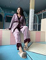 Молодежная велюровая пижама тройка большого размера Турецкий трикотаж размеры 42-44,46-48,50,52,54-56