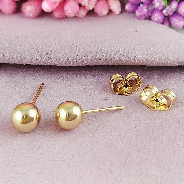Серьги гвоздики Xuping 6 мм х 6 мм медицинское золото позолота 18К А/В 1-0398