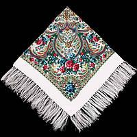 Хустка народна з бахромою 140х140 біла